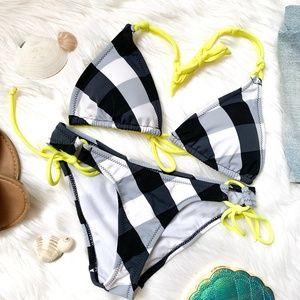 NWT Black and White Neon Plaid Bikini